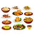 ramadan iftar dishes with meat fish and desserts vector image vector image