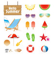 realistic summer design objects and elements vector image