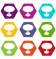 round table icons set 9 vector image