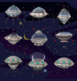 set flying saucer spaceship ufo vector image