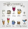 set hand drawn drinks vector image