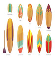 set isolated different types surfboards vector image