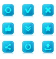 Set of blue internet icons with reflection vector image
