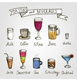 set of hand drawn drinks vector image vector image