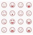 Set of red Emoticons Emoji and Avatar Outline vector image