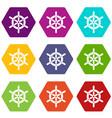 ship wheel icon set color hexahedron vector image vector image