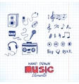 Sketch of music elements vector image vector image