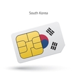 South Korea mobile phone sim card with flag vector image vector image