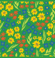 summer flower seamless repeat pattern green vector image