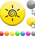 Sun glossy button vector image