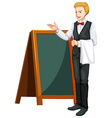 Waiter standing by the board vector image vector image