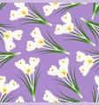 white crocus flower on light purple background vector image vector image