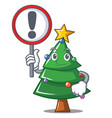 with sign christmas tree character cartoon vector image