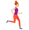 Woman jogging with earphones and smartphone vector image vector image