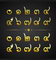 thai gold alphabet number-number zero to nine vector image