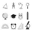 school set icons vector image