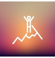 Skiing in ice mountain thin line icon vector image