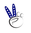 american 4th of july peace sign hand logo vector image