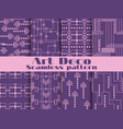 art deco seamless patterns purple color set vector image vector image