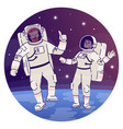 astronauts in outer space flat concept icon vector image vector image