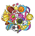 background with kawaii sport items cute funny vector image vector image
