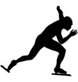 black silhouette man speedskater vector image vector image