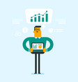 businessman presenting report on digital tablet vector image vector image