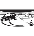 cars on test drive track vector image