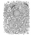 cartoon doodles disco music contour vector image vector image