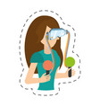 cartoon girl with vr headset control vector image