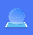 chat bubble icon mobile messenger application blue vector image