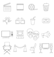 Cinema icons set thin line style vector image vector image