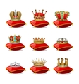 Crowns On Pillows Icon Set vector image