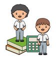 cute little students boys with books and vector image