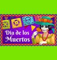 dia de los muertos catrina with marigold and flags vector image
