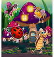 Different insects near the mushroom house vector image vector image