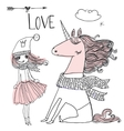 doodle princess with unicorn vector image vector image