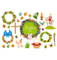 easter holiday symbols with egg rabbit chicken vector image vector image