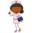 Female nurse in uniform holding file vector image vector image
