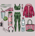 female sportswear sport gadgets and healthy food vector image