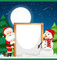 frame with santa and snowman vector image