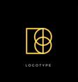geometric shape letter b line monogram vector image vector image