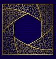 golden cover background frame in hexagonal form vector image