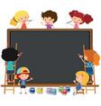 happy children writing on chalkboard vector image vector image