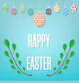 happy easter on blue background different hanging vector image vector image