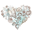 Heart of the shells Hand drawn vector image vector image