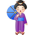 japanese woman wearing traditional kimono holding vector image