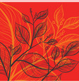 leaf drawing art pattern on a red scene vector image vector image