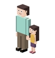 lego silhouette with father and daughter vector image