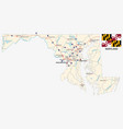maryland federal state road map with flag vector image vector image